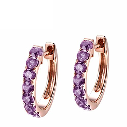 Carleen 14k Solid Rose Gold Round Cut Purple Natural Amethyst Hinged Huggie Hoop Earrings Dainty Delicate Fine Jewelry For Women - Amethyst Gold Jewelry Set