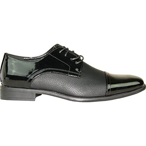Bravo Hommes Robe Chaussure Nouvelle Kelly-2 Classique Emmert Cap Toe Avec Doublure En Cuir? Noir Brevet 9m