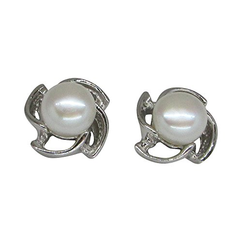 Pearl Pinwheel - Medium Sterling Silver 7mm Cultured Freshwater Pearl Pinwheel Stud Earrings.85 in (22mm Diam)