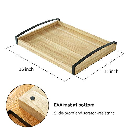 Love-KANKEI Wood Serving Tray with Metal Handle - Rectangle Breakfast Tray for Bed Ottoman Dinner Party 16 x 12 inch by Love-KANKEI (Image #5)