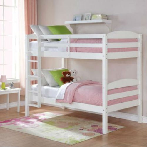 Eight24hours Bunk Beds Twin Over Twin Kids Furniture Bedroom Ladder Wood Convertible White