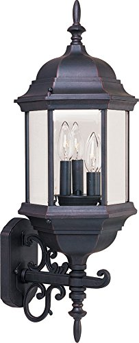 Maxim 1074CLEB Builder Cast 3-Light Outdoor Wall Mount, Empire Bronze Finish, Clear Glass, CA Incandescent Incandescent Bulb , 2.5W Max., Dry Safety Rating, 3000K Color Temp, Standard Triac/Lutron or Leviton Dimmable, Frosted Acrylic Shade Material, Rated Lumens