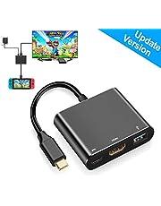Adaptador de hub HDMI Tipo C para Nintendo Switch, HDMI Convertidor Dock Cable para Nintendo Switch, Color Negro