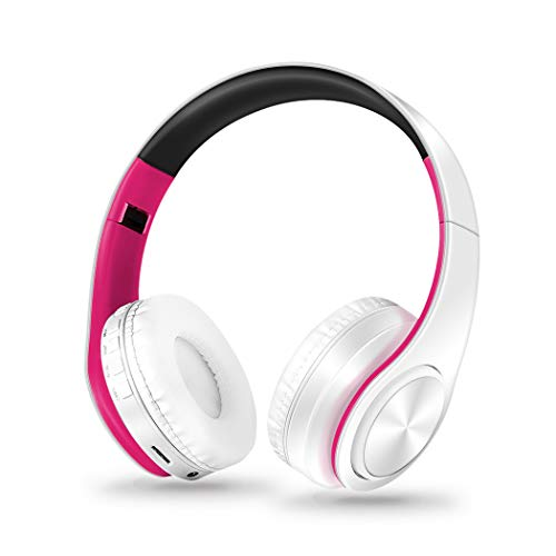 Onbio Bluetooth Headphones Over Ear, HiFi Stereo Wireless Headset, Foldable, Noise Cancelling Wireless Headphones (Rose Red & White)