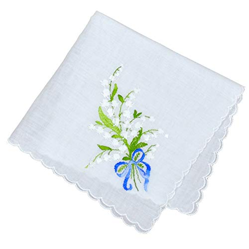 Wedding Something Blue European Handkerchief with Lily of The Valley Embroidery Heirloom Cotton Ladies