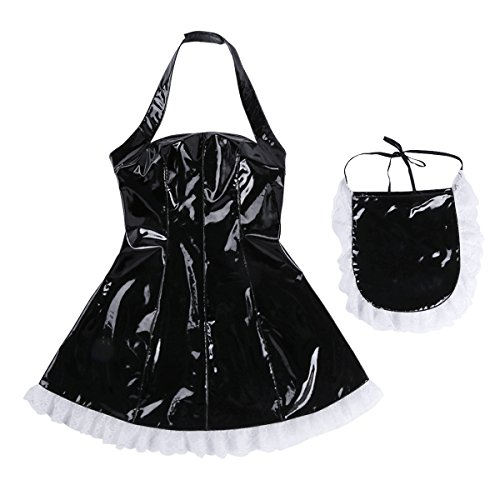 Agoky Women's Faux Leather Cosplay Costume French Maid Outfit Apron Fancy Dress Anime Bodysuit Clubwear Black XX-Large