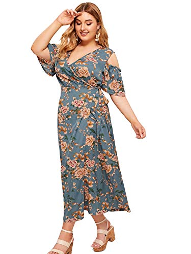 Milumia Women Plus Size Cold Shoulder Floral Boho Party Homecoming Prom Dress 1X]()