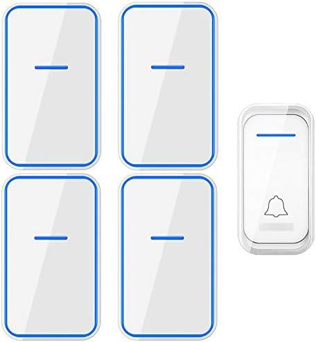 コードレスプラグインドアベル、1000フィート長距離ドアチャイムキット38メロディー4音量レベルの防水電子ドアベル(1つのプッシュボタンと4つのレシーバー),白