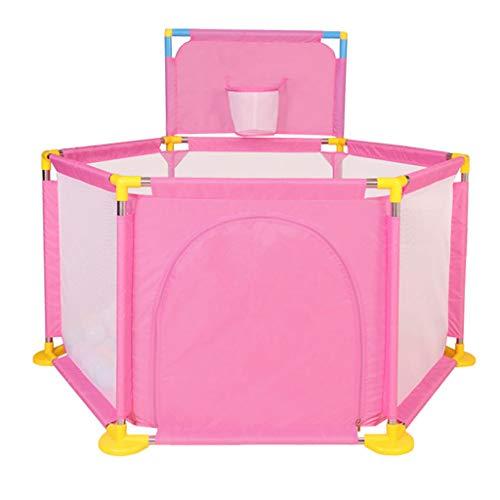 推進力矢恥ずかしさZYH 室内子供用フェンス、家庭用ベビーゲームフェンスフェンスベビーセーフティ幼児クロールフェンスおもちゃストレージハウス128 * 66 * 104CM 広いスペース (色 : Pink)