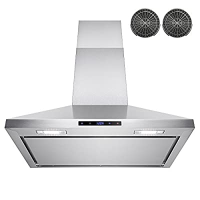 """AKDY 30"""" Wall Mount Stainless Steel Touch Control Kitchen Ductless Range Hood w/ LED Lamps"""