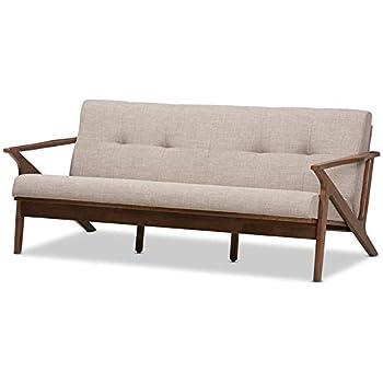 Amazon.com: Baxton Studio Bianca Faux Leather Sofa in Dark ...