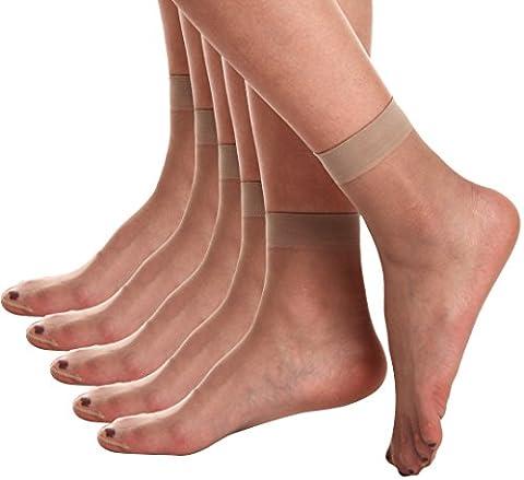 Begirlly Womens Sheer Ankle Pantyhose Hosiery Transparent Silk Socks 5 Pack (Ankle High Hose)