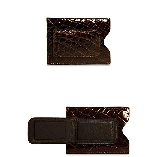Jack Georges [Personalized Initials Embossing] Alligator Card Holder with Money Clip Black