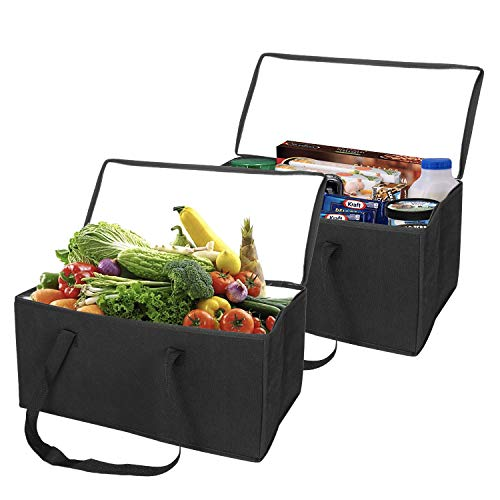 Cart Meal Delivery (VENO Reusable Insulated Grocery Shopping Bags – 2 Trunk Size Collapsible Insulated zippered Cooler with Reinforced Bottoms, Made of Recycled Material (Pack of 2))