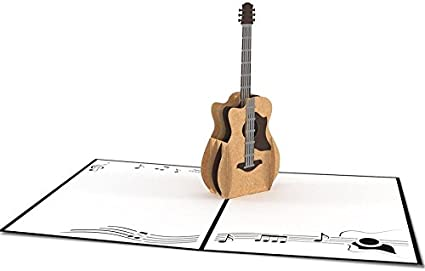 uniqueplus Guitarra Acústica 3d Pop Up Kirigami Tarjetas de regalo ...
