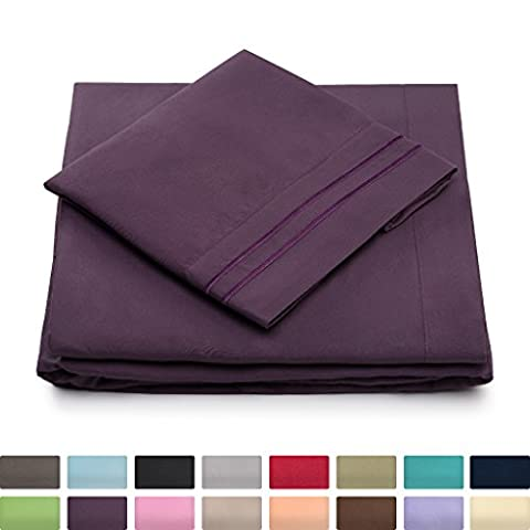 King Size Bed Sheets - Purple Luxury Sheet Set - Deep Pocket - Super Soft Hotel Bedding - Cool & Wrinkle Free - 1 Fitted, 1 Flat, 2 Pillow Cases - Plum King Sheets - 4 - Magenta Twin Pack