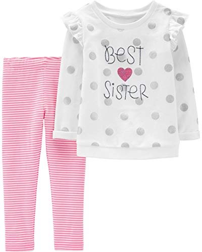 Carter's Girls' 2-Piece Long Sleeve Top and Legging Sets (18 Months, Best Sister/Sequin)