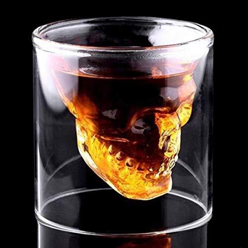 Offershop Glas Schuss Becherglas Totenkopf Skull 75 ml Whisky Bier Wein Vodka Cocktail Grappa Getr/änke Shot