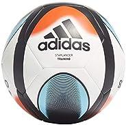 adidas,Mens,Starlancer Training Ball,White/Black/Solar Red/Bright Cyan,5