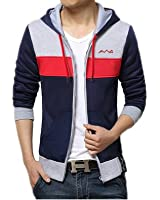 AWG Men's Cotton Multi-colour Hoodie Sweatshirt with Zip