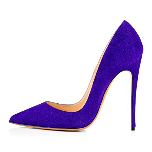 (onlymaker Women's Sexy Pointed Toe High Heel Slip On Stiletto Pumps Large Size Basic Shoes Purple Suede 11 M US)
