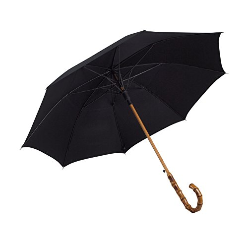 UK Designed—Balios Prestige Walking Stick Umbrella—Bamboo Handle—Double Canopy (Jet Black) (Handmade Umbrella)