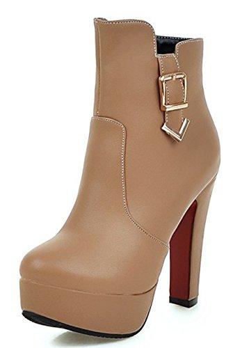 Round High Booties Elegant Aisun Toe Short apricot Chunky Women's Platform Heels xtFpZ