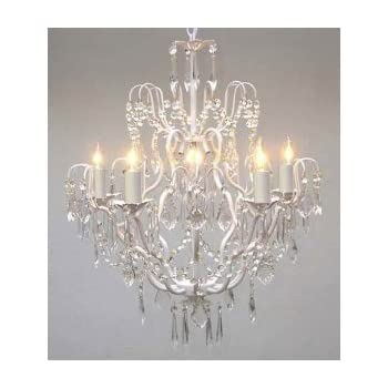 Crystal chandelier chandeliers lighting h25 x w24 swag plug in wrought iron crystal chandelier chandeliers lighting h27 x w21 swag plug in chandelier aloadofball Gallery