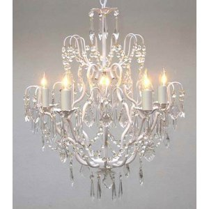 Wrought Iron Crystal Chandelier Chandeliers Lighting H27″ x W21″ SWAG PLUG IN-CHANDELIER W/ 14′ FEET OF HANGING CHAIN AND WIRE!