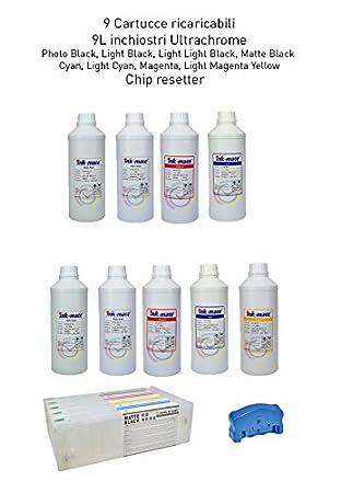 9 Cartuchos Recargables para Plotter Epson 7890 9890 y de 700 ml + ...