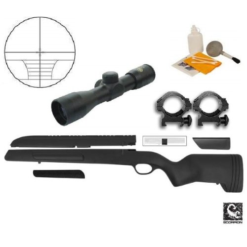 ATI Mauser 98 Rifle Stock Scorpion Recoil Buttpad, Weaver Scope Mount & Cheek Rest + Ultimate Arms Gear 4x30 Rangefinder Range Finder Scope + Scope Picatinny Rings + Lens Covers - Turkish Mauser Scope Mount