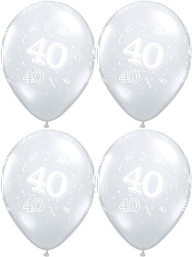 10 x 40th Streamers & Confetti, Diamond Clear, Birthday Party Balloons - 11  by Swoosh Supplies