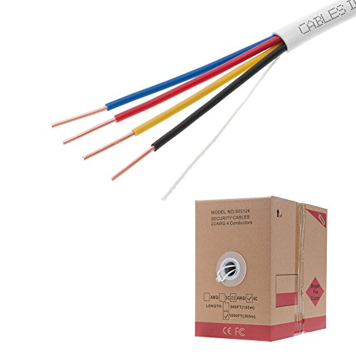 1000FT 22/4 Oxygen Free Pure Copper Solid Cable Fire/Security Burglar Station Alarm Wire (22/4) (22/4)