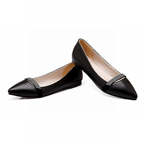 Charm Foot Womens Casual Pointed Toe Sequins Flat Pumps Shoes Black 5l59eSK