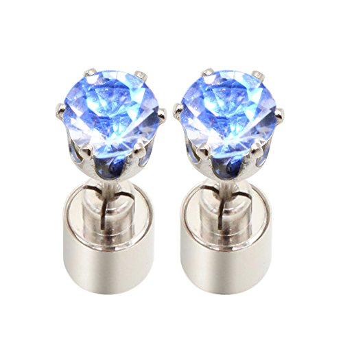 Led Earrings Bright Stylish Earring Ear Drop Pendant Stud Glowing Flashing Light Up Led Earring Studs Unisex Diamond Crown Drops Gift for Valentines Christmas Hallowmas Dance Party Accessories -