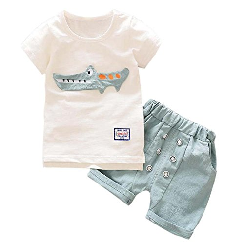 Barato Logobeing 2 Piezas Conjunto Ropa Verano Bebé Niños Camiseta Dibujos  Animados De Cocodrilo y cf44e2f0b7964