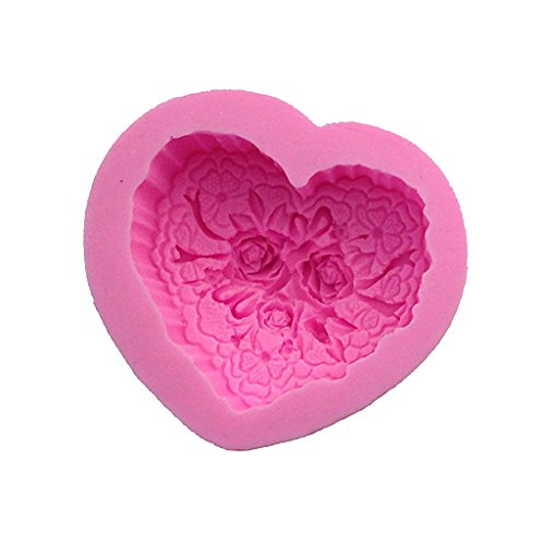 (MonkeyJack 3D Silicone Rose Heart Chocolate Cake Soap Mold Ice Tray Mould Baking Tool)