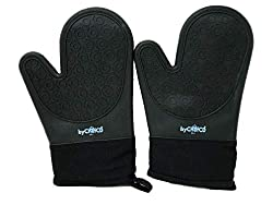 Bychefcd Silicone Oven Mitt 1 Pair Double Layer Heat Resistant Baking Gloves Black