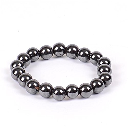 Olive Tayl Women Black 6/8/10 Cool Magnetic Bracelet Beads Hematite Stone Therapy Health Care Magnet Hematite Beads ()