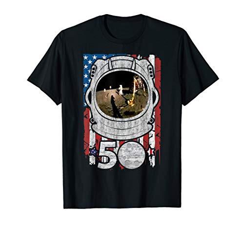 Apollo 11 American Flag 50th Anniversary Moon Landing Gift T-Shirt