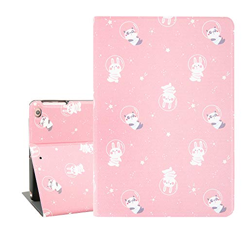 Cute iPad 9.7 Case, Funny Case iPad Air 9.7 for Kids, Panda Rabbit In Space Pink Tablet Case for iPad 9.7 Inch With Auto Sleep/Wake Function, Protective Smart Case Cover for iPad 6th/5th Gen 2018 2017