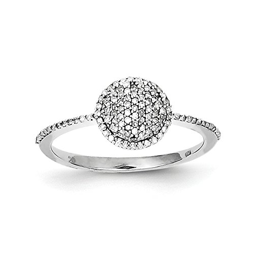 Size 6 Solid 925 Sterling Silver Diamond Round Ring (1mm) (1/5ct.) by Sonia Jewels