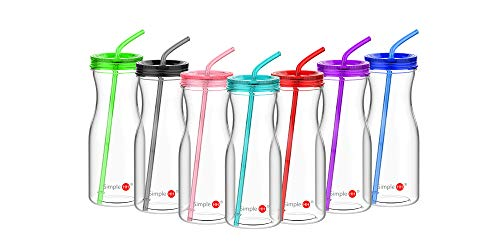 Simple HH Tritan BPA-Free Water Bottle with Straw 33oz Dishwasher-Safe Drinking Tumbler | Extra Wide Mouth w/Easy Twist Lid (Tiffany Blue)