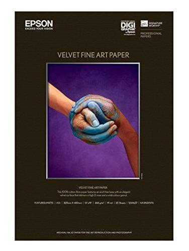 Epson : Velvet Fine Art Paper, Acid-Free Cotton Rag, 13 x 19, White, 20 Sheets -:- Sold as 2 Packs of - 20 - / - Total of 40 Each by Epson