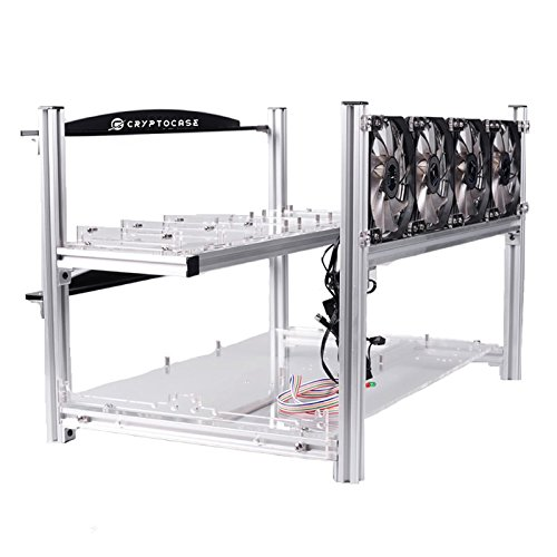 CryptoCase Sentinel 6 GPU Mining Case - Stackable Open Air Rig Frame - Easy install 6 GPU Cryptocurrency Miners with Maximum Airflow to Extend GPU Life - Mine Ethereum, Bitcoin, and Altcoins Now!