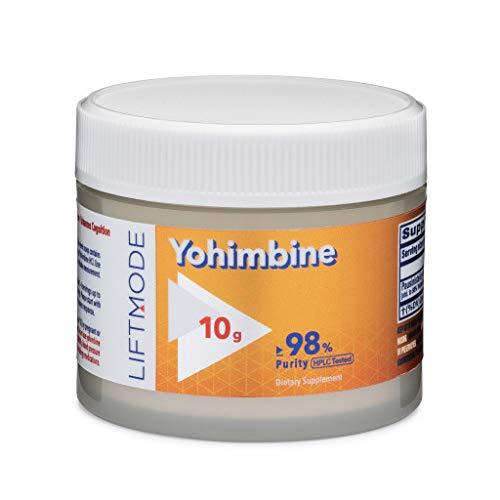 LiftMode Yohimbine HCL Powder Supplement – Fat Burner Supplement Plus Increased Energy and Libido, Yohimbe Bark Extract Vegetarian, Vegan, Non-GMO, Gluten Free – 10 Grams 400 Servings