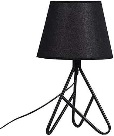 Creative Macaron Table Lamps Fabric Living Room/Bedroom/Bedside Table Wrought Iron Trigeminal Lights (Color : Black)