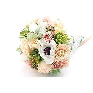 Yokoke Wedding Bridal Bridesmaid Bouquet Wedding Holding Flower Artificial Peony Rose Green Succulent Berry for Wedding Church Party Home Decor 3
