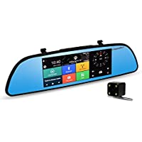 """TEQStone Backup Camera Mirror and Monitor Kit, 7"""" 170 Wide Angle Reverse Rear View Dash Cam 3G GPS Android 5.0 Car Dual Lens Camera"""