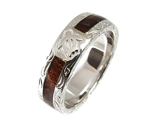 Genuine hawaiian koa wood eternity wedding band ring honu turtle 925 silver 6mm size 7